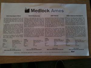 Medlock Ames tasting sheet